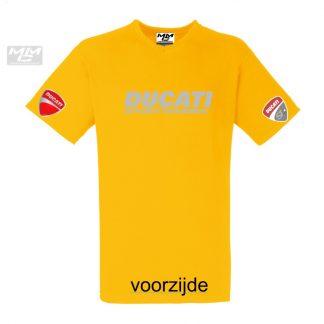 """in zilvergrijs """"Ducati sporttouring"""" op een geel shirt met V-hals"""