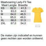lengte en breedte maten overzicht Lady-fit tshirt