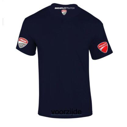 NAVY blauw teeshirt met witte opdruk. Achterzijde met neklogo